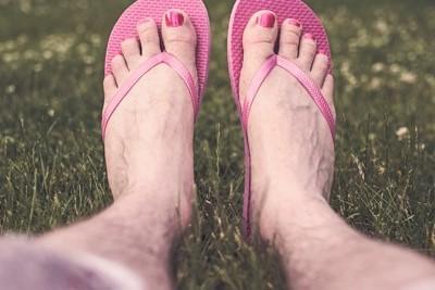 voeten in slippers